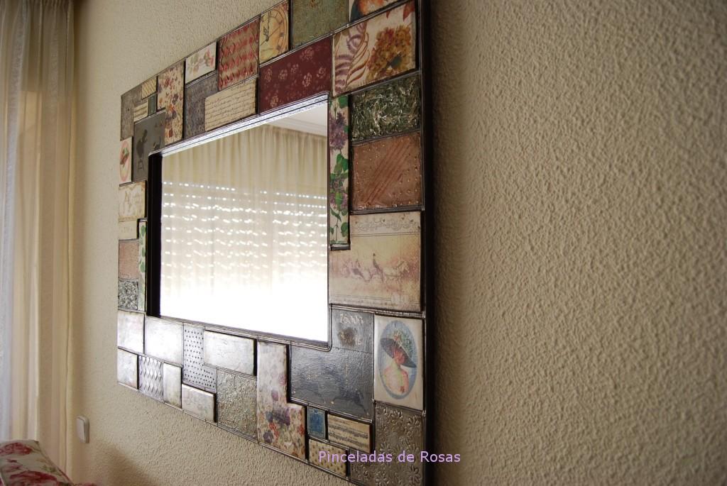 Espejos pinceladas de rosas for Espejos con marco de madera decorados