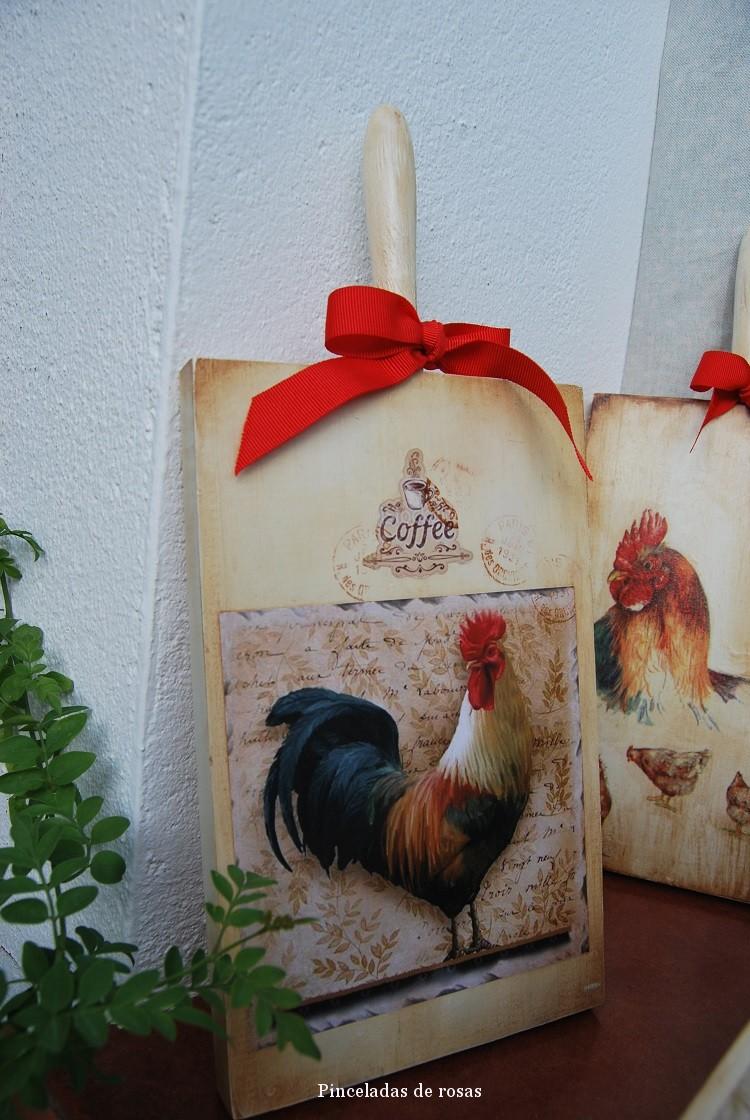 Mis tablas de mcocina decoradas gallos gallinas 5 - Decorar tabla madera ...