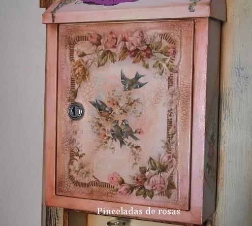Flores pinceladas de rosas - Buzon vintage ...